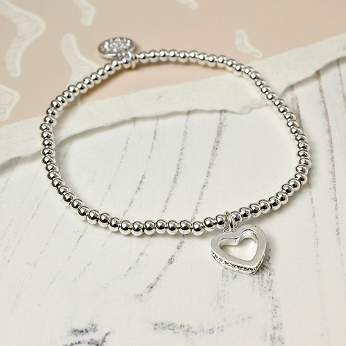 Silver Plated Crystal Edged Heart bracelet