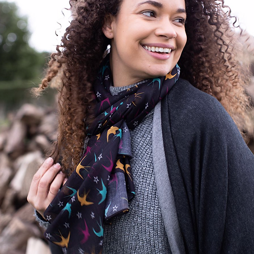 Dark recycled scarf with swallows and stars