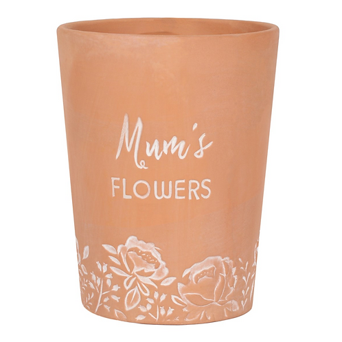 MUM'S FLOWERS TERRACOTTA PLANT POT