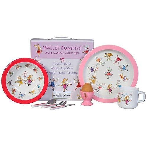 BALLET BUNNIES 7 PIECE MELAMINE DINING SET