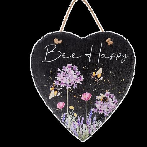 Bee Happy Slate Plaque