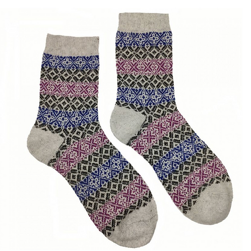 CREAM, RED AND BLUE LERWICK WOOL BLEND SOCKS