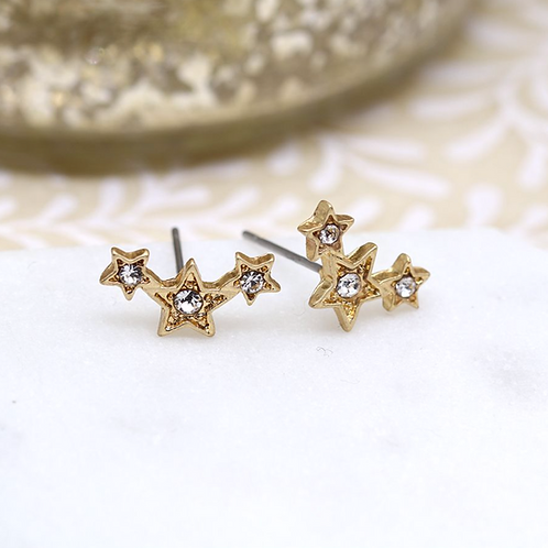 Gold plated triple star earrings with crystals