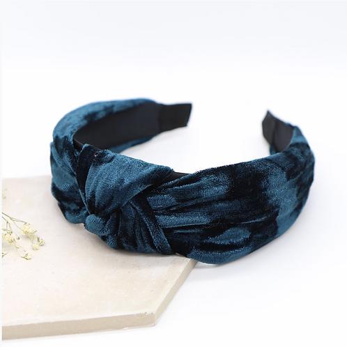 Teal blue velvet headband