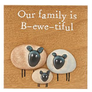 Pebble Sheep Plaque-Family