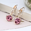 Thumbnail: Rose gold plated and pink crystal drop earrings