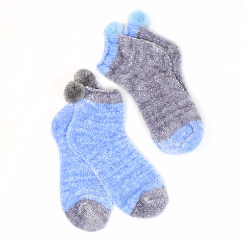 Grey and blue pom-pom socks