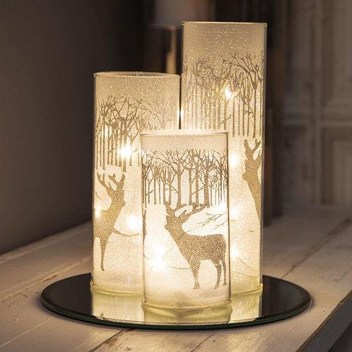 SET OF 3 LED GLASS LIGHT TUBES ON MIRROR BASE - REINDEER