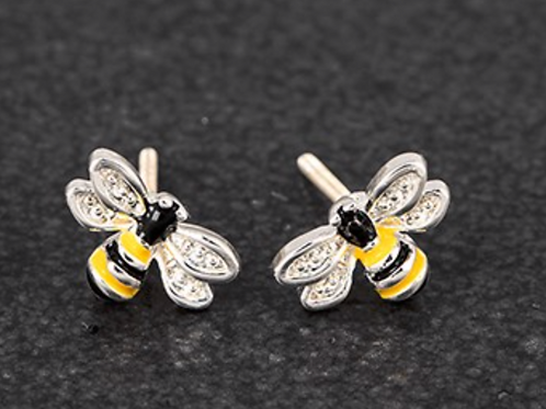 Girls Silver Plated Bumble Bee Earrings-Portrait
