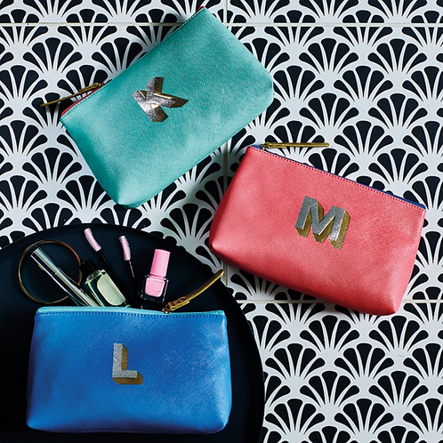 Letterpress Make Up Bags with Metallic Letter - A to M