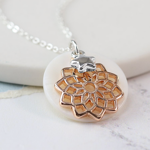 Silver plated rose gold plated mandala pearl disc necklace