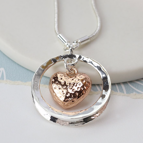 Rose gold plated heart in silver plated circle necklace
