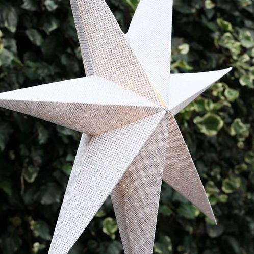 WHITE/SILVER GLITTER LIGHT UP STAR 75CMS