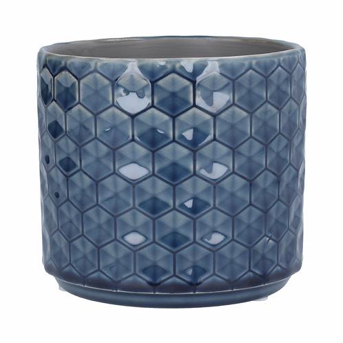 Ceramic Pot Cover 14cm - Navy Honeycomb