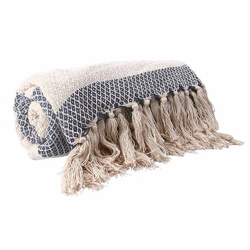 Cotton Throw 150cm - Navy Woven Diamond Stripe
