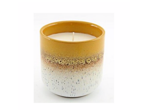 TWO TONE MUSTARD CANDLE POT