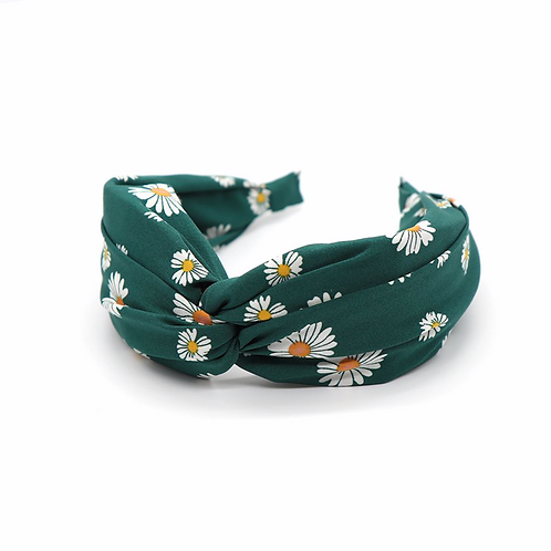 Green fabric headband with pretty daisy print