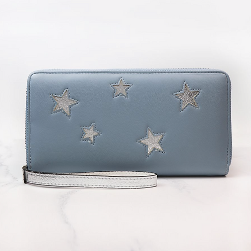 Pale Blue Purse With Silver Stars