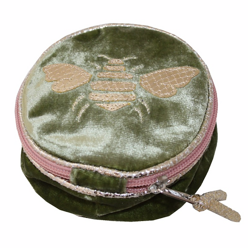 Gold Bee Round Jewellery Purse-Olive