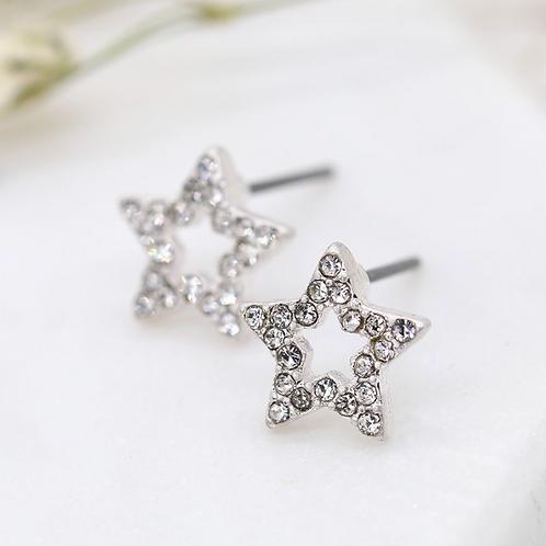Silver plated open crystal star stud earrings