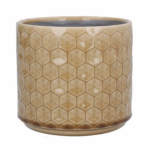 Ceramic Pot Cover Sml - Mustard Honeycomb