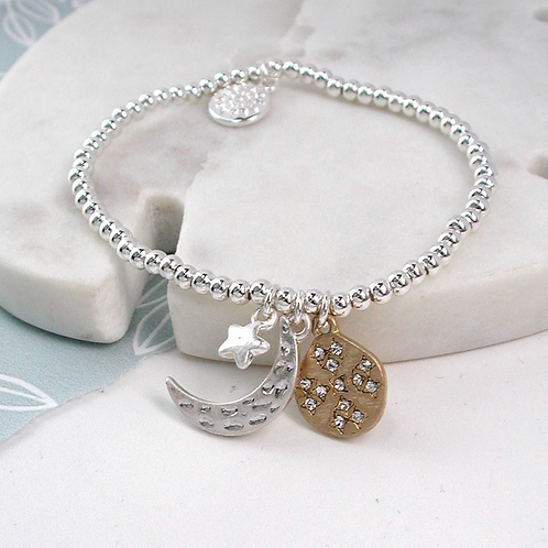 Silver Plated Moon, Star And Planet Bracelet