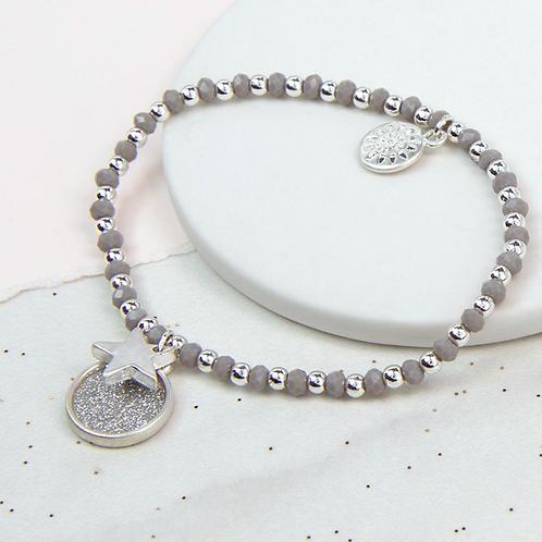 Grey And Silver Bead Sparkle Disc Bracelet