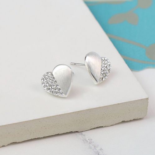 Silver Plated Split Crystal Heart Stud Earrings