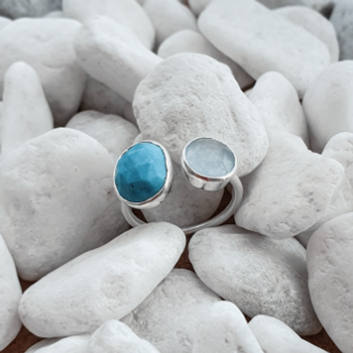 Avisa Silver Ring with Turquoise & Blue Chalcedony stones