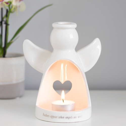 15CM FEATHERS APPEAR ANGEL TEALIGHT HOLDER
