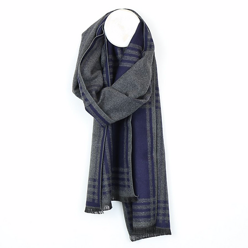 Navy and grey plaid check scarf for men