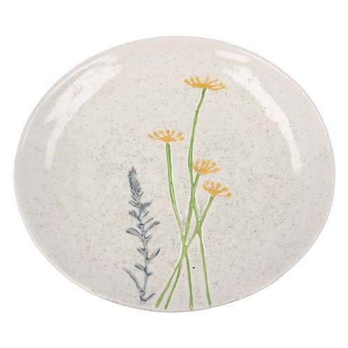 Ceramic Plate - Yellow Daisy/Lavender