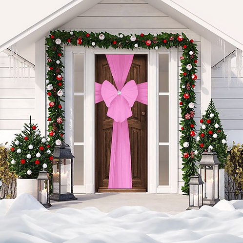 Christmas Pink Door Bow