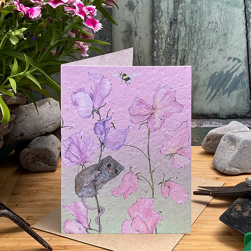 Sweet Pea and Mouse Plantable Seed Card