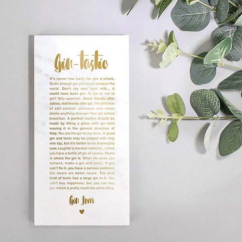 Gin-tastic Marble and Gold Kitchen Plaque