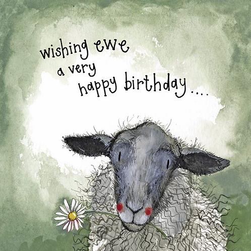 Starlight Sheep and Daisies Birthday Card