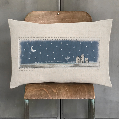 Embroidered cushion-You are the brightest star