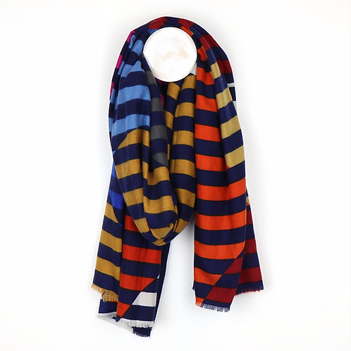 Navy, orange and pink circle stripe scarf