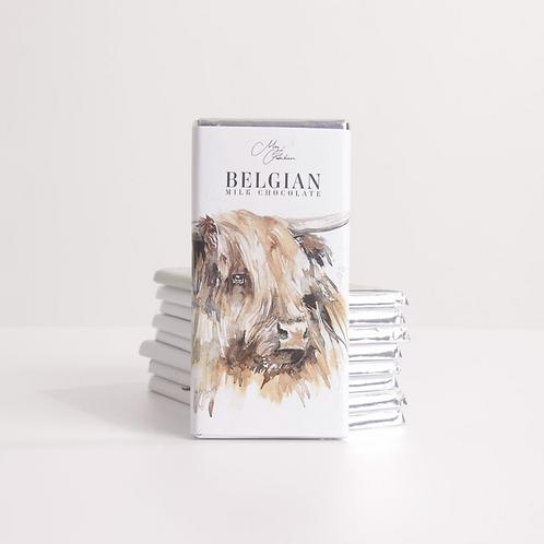 HIGHLAND COW DESIGN - BELGIAN CHOCOLATE BAR