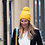 Thumbnail: Yellow trellis knit bobble hat with matching pom-pom