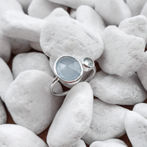 Kendra Silver Ring with Blue Chalcedony & Topaz stones