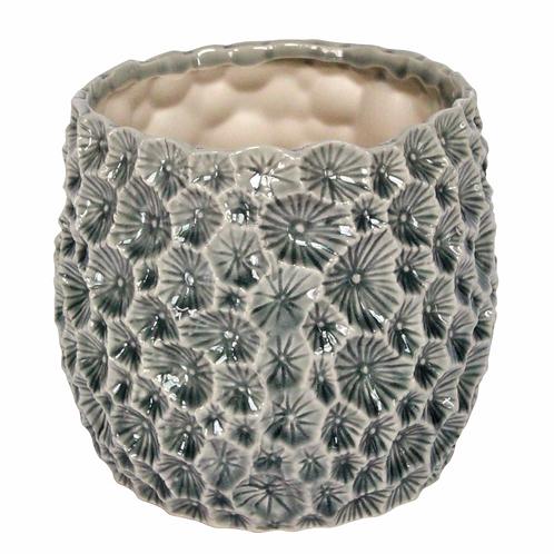 Ceramic Crater Pot Cover 15cm - Grey