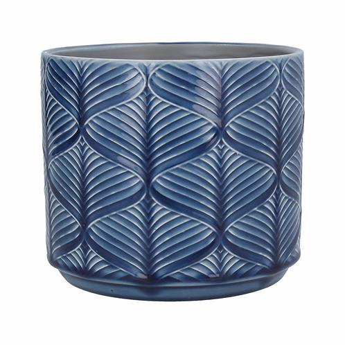 Navy Wavy Ceramic Pot Cover-Med
