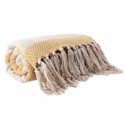 Cotton Throw 150cm - Mustard Woven Diamond Stripe