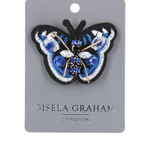 Jewelled Brooch 8cm - Butterfly/Blue