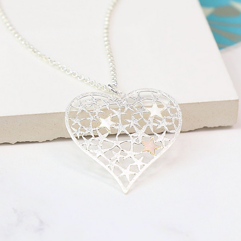 Silver Plated Scratched Star Heart Necklace