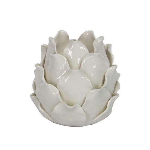 Ceramic Nite Lite 10cm - Artichoke/White