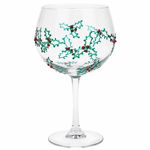 Gin & Tonic Glass Xmas Holly Green