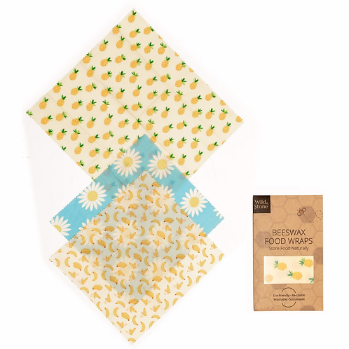 Beeswax Food Wraps – Fruit Pattern – 3 Pack (2x Medium, 1x Large)