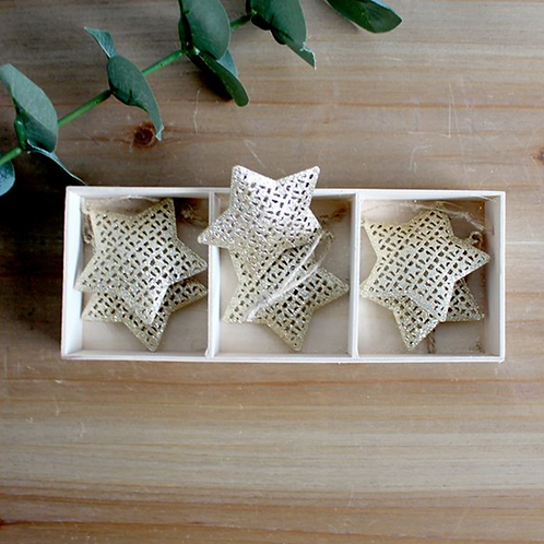 SET OF 6 METAL GOLD STARS HANGER